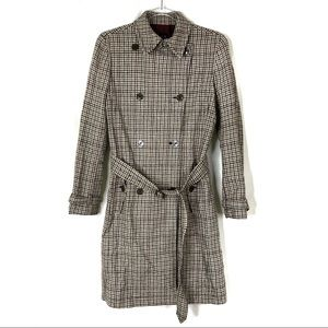 GAP   Wool Blend Houndstooth Trench Coat